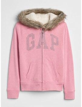 Fur Trim Logo Sherpa Hoodie Sweatshirt by Gap
