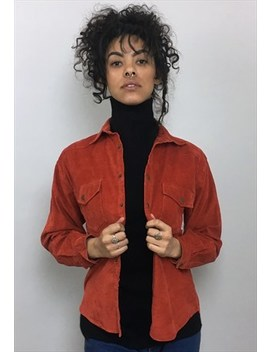 Vintage 90s Red Orange Corduroy Shirt by Retroverse Vintage