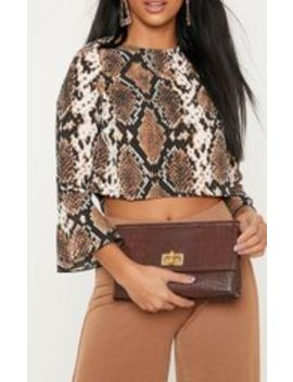 Petite Taupe Snake Print Cropped Blouse by Prettylittlething