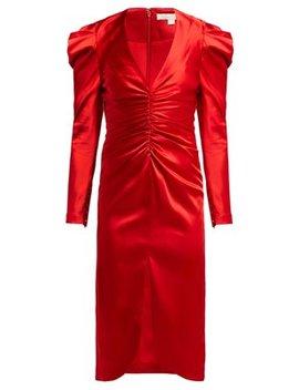 Puff Sleeve Ruched Satin Midi Dress by Jonathan Simkhai