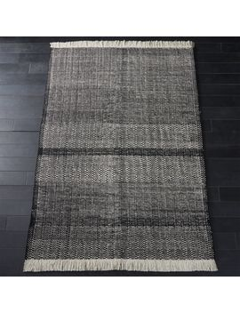 Loop Black And White Fringe Rug 5'x8' by Crate&Barrel