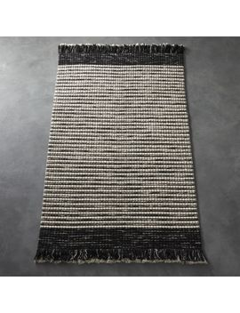 Boucle Black And White Fringe Rug 5'x8' by Crate&Barrel
