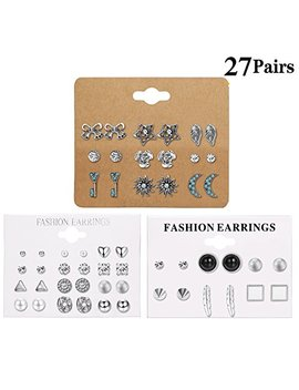Lolias 27 Assorted Multiple Studs Earring Set For Women Girls Bohemia Retro Vintage Style Earrings Card Pack by Lolias