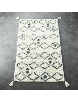 Idris Ivory And Grey Shag Rug 5'x8' by Crate&Barrel