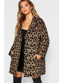 Boyfriend Leopard Wool Coat by Boohoo
