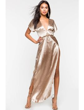 Short Sleeve Satin Maxi by A'gaci
