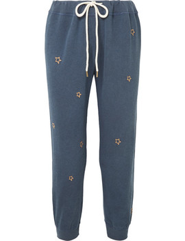 The Cropped Embroidered Cotton Jersey Track Pants by The Great