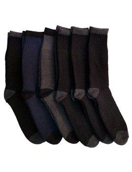 6 Pairs Of Excell Mens Thick Thermal Boot Socks, Temperature Rated, Cotton by Excell