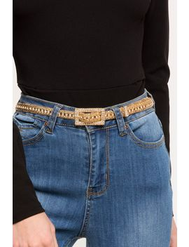 Rhinestone Rectangle Buckle Skinny Belt by A'gaci