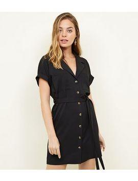 Petite Black Revere Collar Shirt Dress by New Look