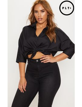Plus Black Oversized Shirt by Prettylittlething