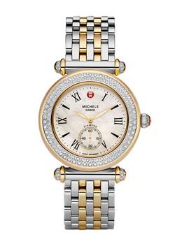 Women's Caber Two Tone Diamond Bracelet Watch, 37mm   0.58 Ctw by Michele