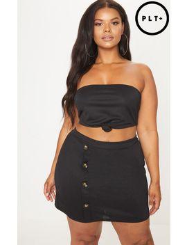 Plus Black Tortoise Button Detail Mini Skirt by Prettylittlething