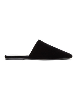 Black Velvet Bliss Slippers by Saint Laurent