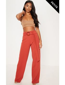 Petite Rust Tortoise Shell Ring Detail Wide Leg Trousers  by Prettylittlething
