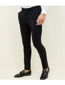 Dark Green Black Watch Check Skinny Trousers by New Look