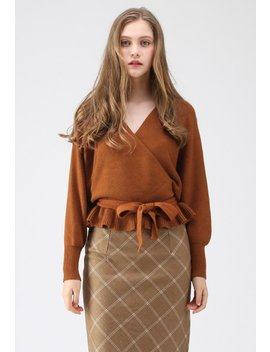 Modern Allure Wrapped Knit Top In Caramel by Chicwish