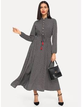 Button Front Tassel Drawstring Waist Dress by Shein
