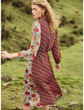 Mixed Print Shirt Dress by Shein