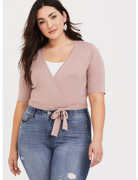 Blush Ballet Wrap Sweater by Torrid