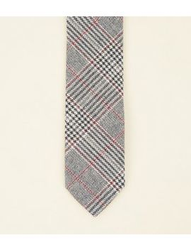 Grey Prince Of Wales Check Tie by New Look