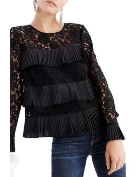 Pleated Lace Top by J.Crew