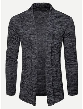 Men Space Dye Cardigan by Sheinside