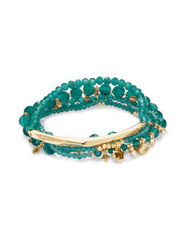 Supak Gold Beaded Bracelet Set In Emerald Cats Eye by Kendra Scott