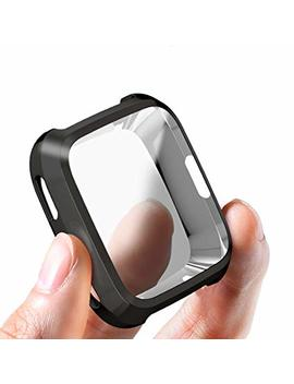 Siruibo Compatible Fitbit Versa Case, Tpu Plated Screen Protector Rugged Cover [Scratch Proof] All Around Protective Bumper Shell Compatible Fitbit Versa Smartwatch, Black by Siruibo