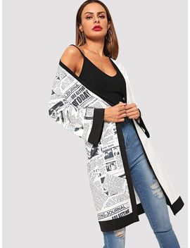 Letter Print Panel Outerwear by Sheinside