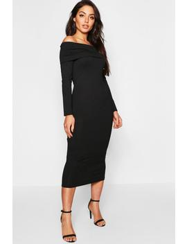 Jumbo Rib Bardot Midi Dress by Boohoo