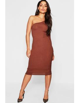 Jumbo Rib One Shoulder Midi Dress by Boohoo
