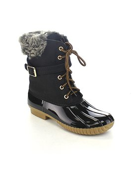 Nature Breeze Duck 01 Women's Chic Lace Up Buckled Duck Waterproof Snow Boots by Nature Breeze
