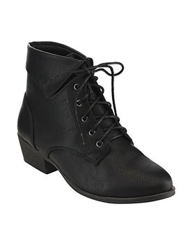 Top Moda Ec89 Women's Foldover Lace Up Low Chunky Heel Ankle Booties by Top Moda