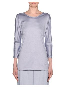 Silk Cotton Knit Long Sleeve Tunic by Giorgio Armani