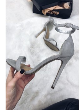 Natalie Grey Suede Barely There Heels by Misspap