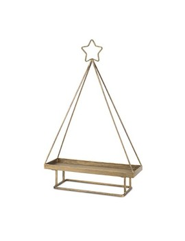 "Melrose International 19.5"" Gold Brushed Antique Christmas Tree Tray With Bottom Stand And Star Top by Melrose"