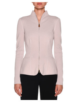 Cashmere Fitted Funnel Neck Zip Front Jacket by Giorgio Armani