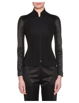 Zip Front Viscose Jersey Jacket W/ Satin Inset by Giorgio Armani