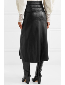 Nehora Pleated Leather Midi Skirt by Isabel Marant