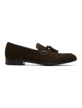 Brown Suede Tassel Loafers by Prada