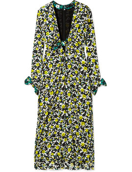 Tie Detailed Floral Print Georgette Midi Dress by Proenza Schouler