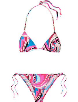Chain Embellished Printed Triangle Bikini by Emilio Pucci