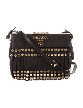 2017 Small Saffiano Lux Fringe Crossbody Bag by Prada
