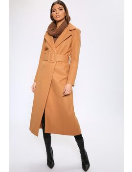Camel Long Line Woolen Buckle Coat by I Saw It First