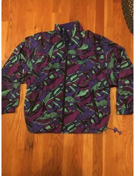 Vtg 80s 90s Reebok Mens Windbreaker Jacket Sz S Multi Color Green All Over Print by Reebok
