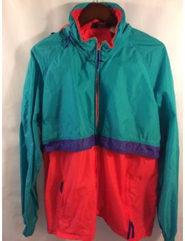 Vtg 80's Woolrich Men's Jacket Xl Windbreaker Shell Color Block Hip Hop Hood by Woolrich