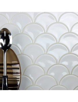 "Abolos Monet Fish Scales 3.43"" X 3.7"" Porcelain Mosaic Tile In White & Reviews by Abolos"