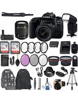 "Canon Eos 77 D Dslr Camera With Ef S 18 55mm F/4 5.6 Is Stm Lens + 2 Pcs 32 Gb Sandisk Sd Memory + Automatic Flash + Battery Grip + Filter & Macro Kits + Backpack + 50"" Tripod + More by Canon"