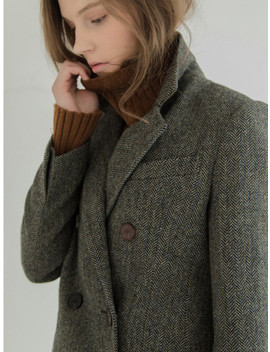 Herringbone Double Breast Wool Coat by Refined902